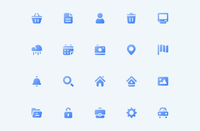 Set d'icônes de Mobizel : panier, recherche, localisation...