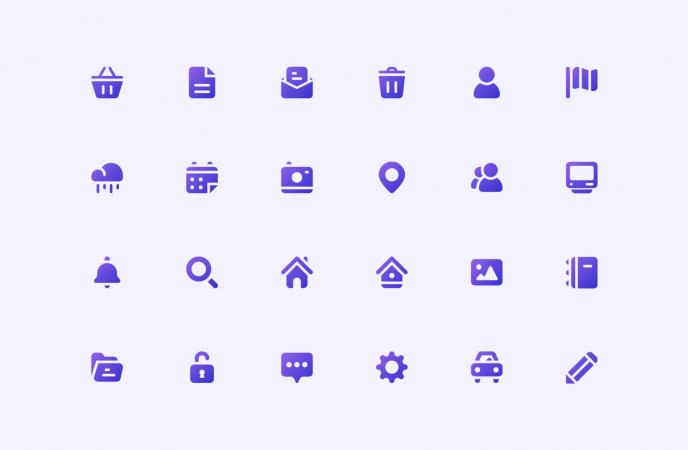 Set d'icônes Mobizel: calendrier, météo, profil...
