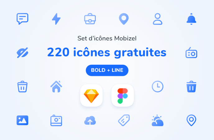 Set de 120 icônes bold et line à télécharger
